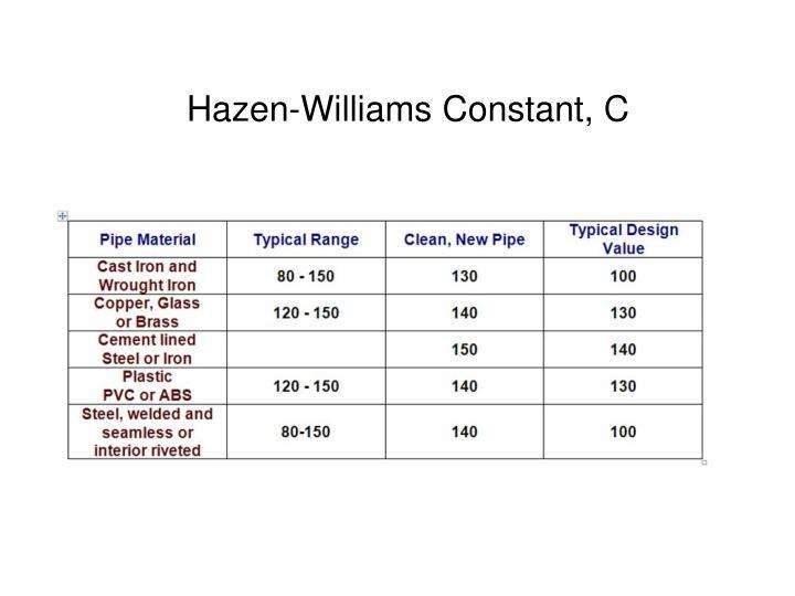 Hazen-Williams Constant, C