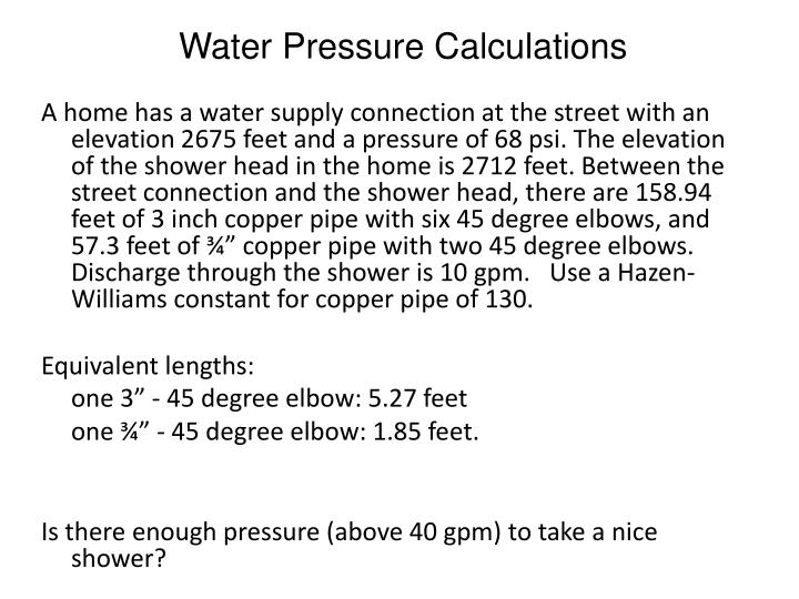 Water Pressure Calculations
