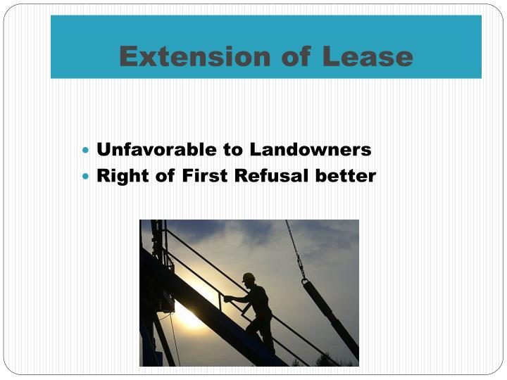 Extension of Lease