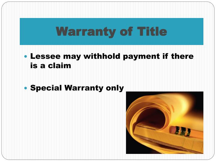 Warranty of Title