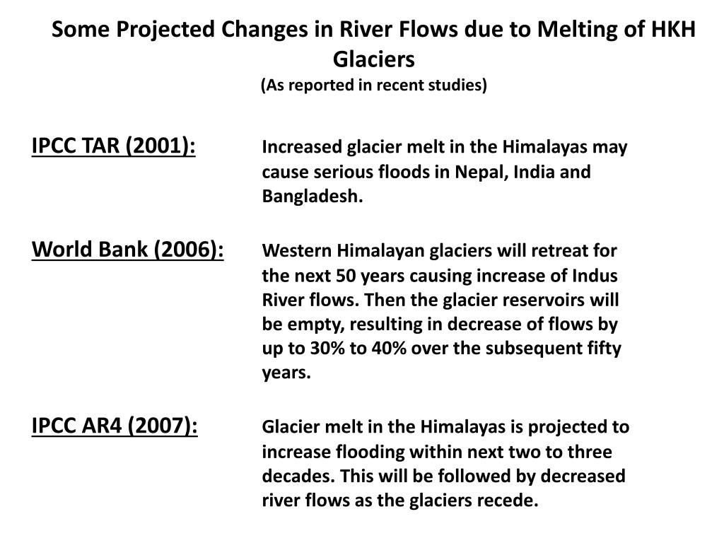 Some Projected Changes in River Flows due to Melting of HKH Glaciers