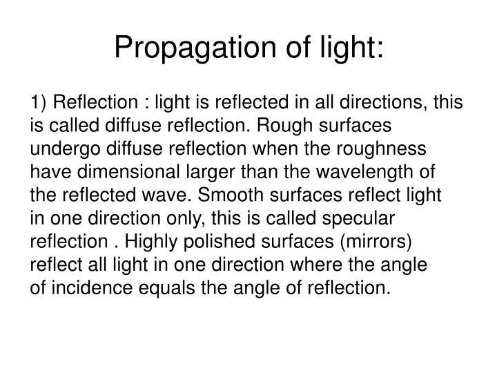 Propagation of light: