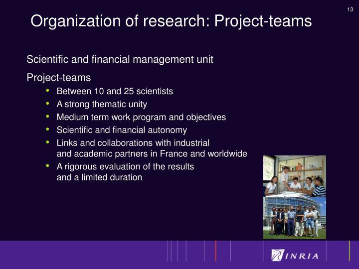 Organization of research: Project-teams
