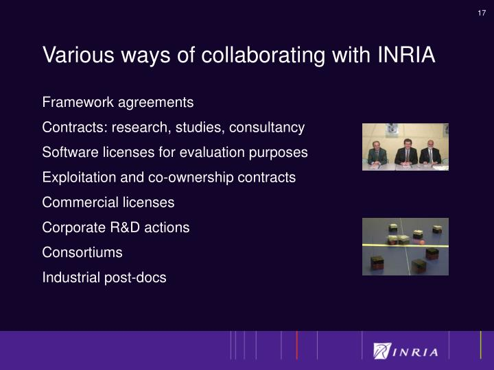Various ways of collaborating with INRIA