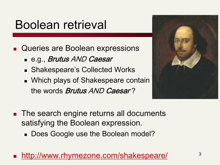 Boolean retrieval