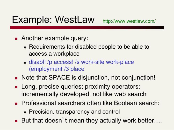 Example: WestLaw