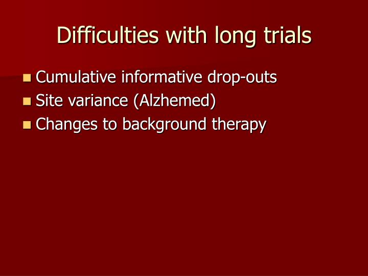 Difficulties with long trials