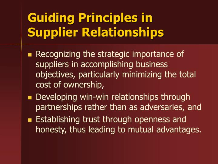 Guiding Principles in Supplier Relationships