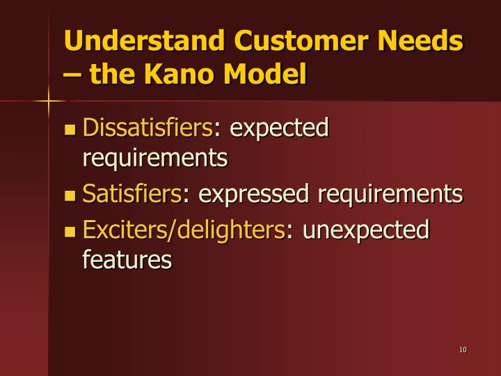 Understand Customer Needs – the Kano Model