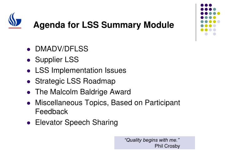 Agenda for lss summary module