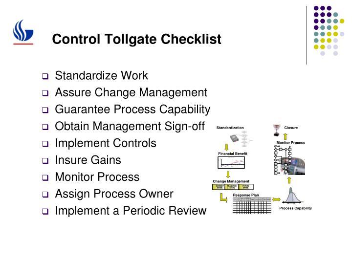Control Tollgate Checklist