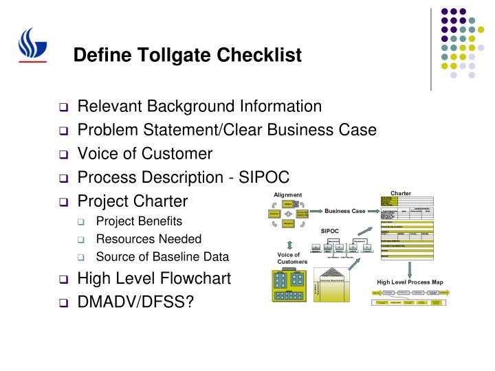 Define Tollgate Checklist