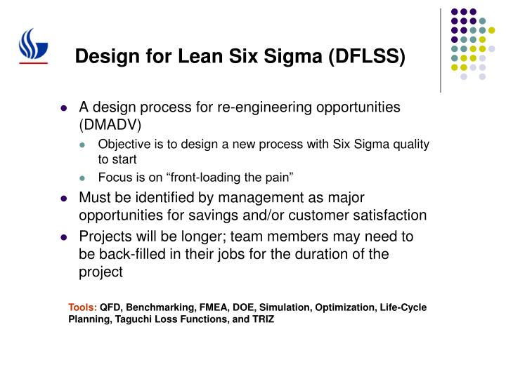 Design for Lean Six Sigma (DFLSS)