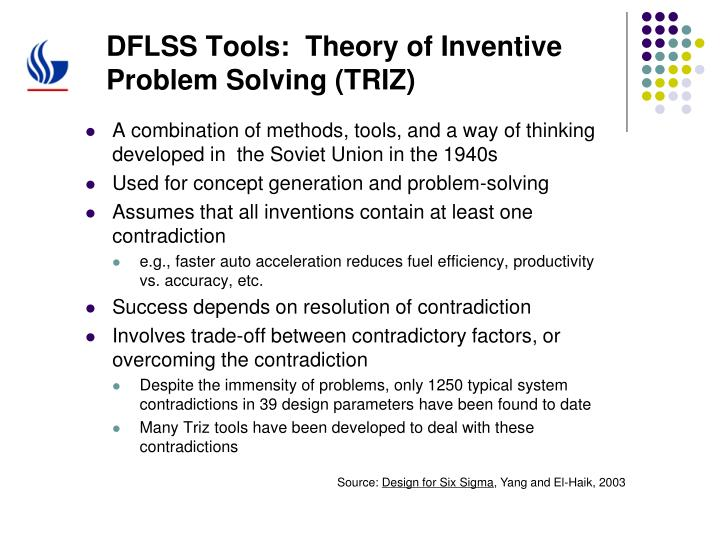 DFLSS Tools:  Theory of Inventive Problem Solving (TRIZ)
