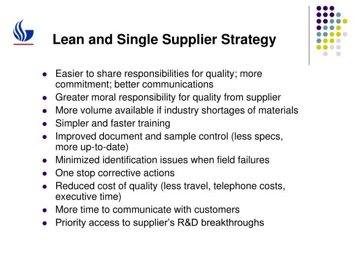 Lean and Single Supplier Strategy