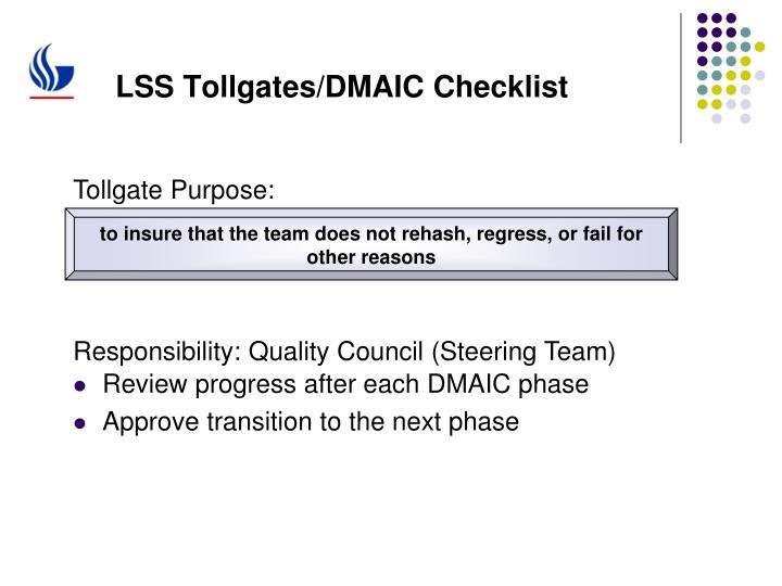 LSS Tollgates/DMAIC Checklist