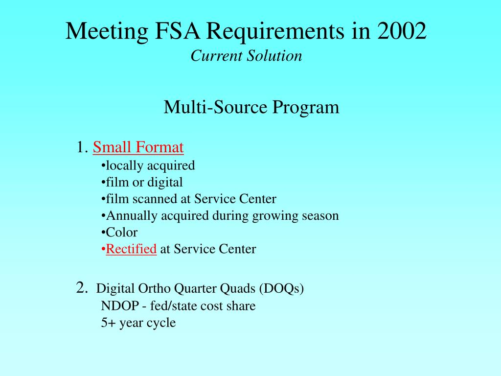 Meeting FSA Requirements in 2002