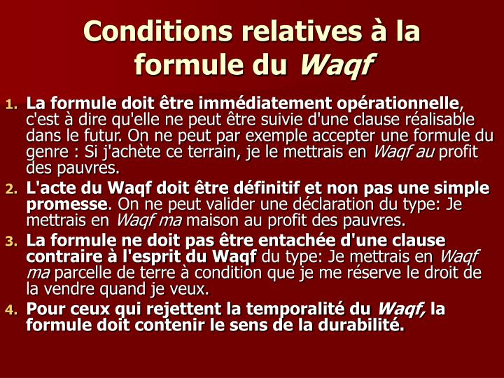 Conditions relatives à la formule du