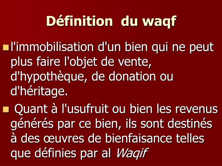 Définition  du waqf