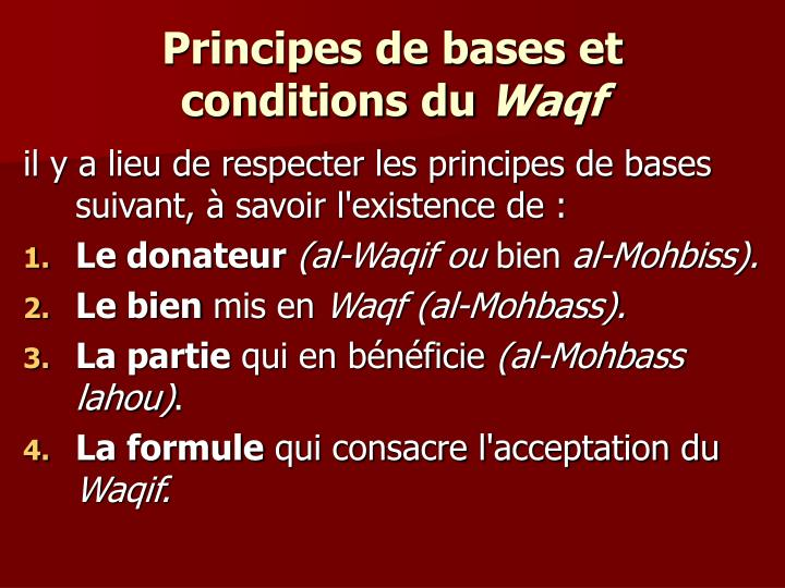 Principes de bases et conditions du