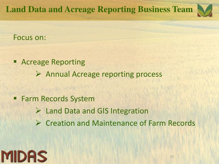 Land Data and Acreage Reporting Business Team