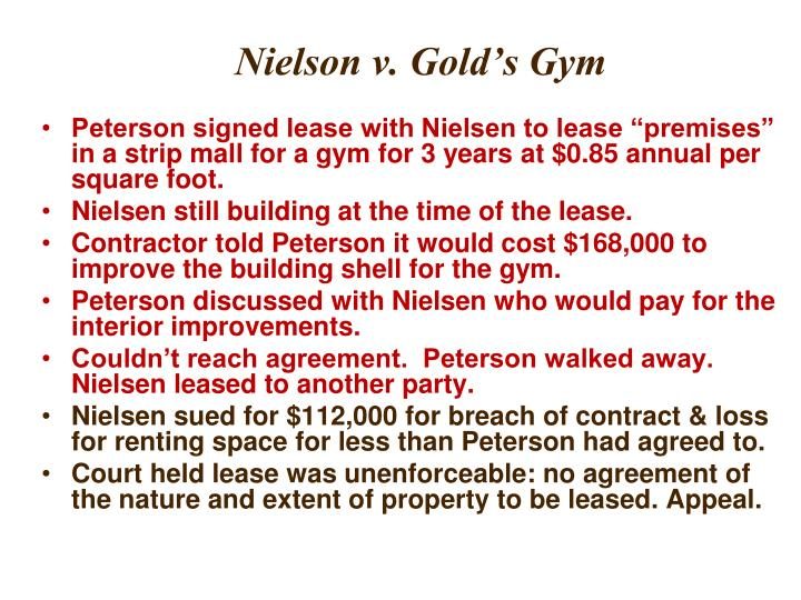 Nielson v. Gold's Gym