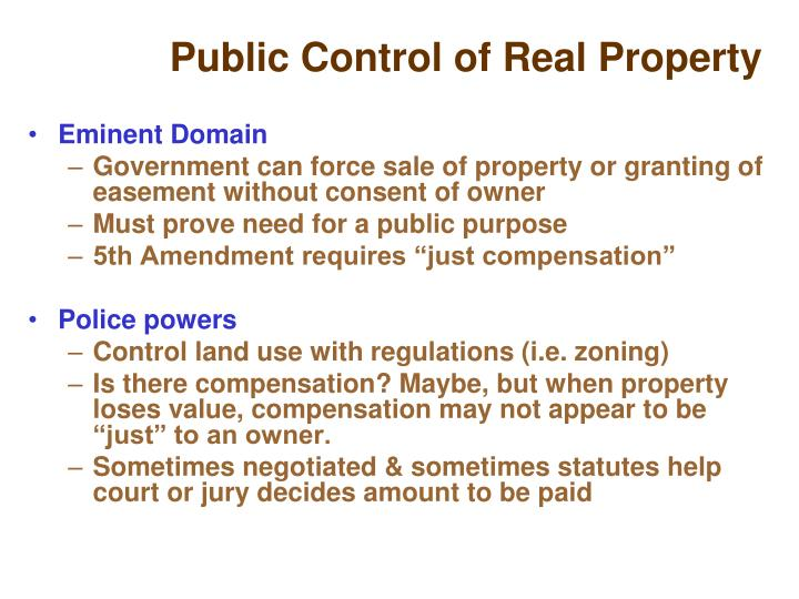 Public Control of Real Property