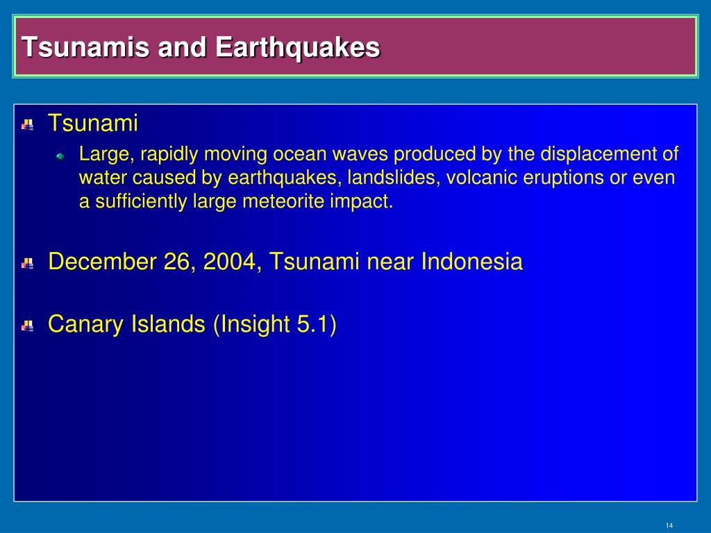Tsunamis and Earthquakes