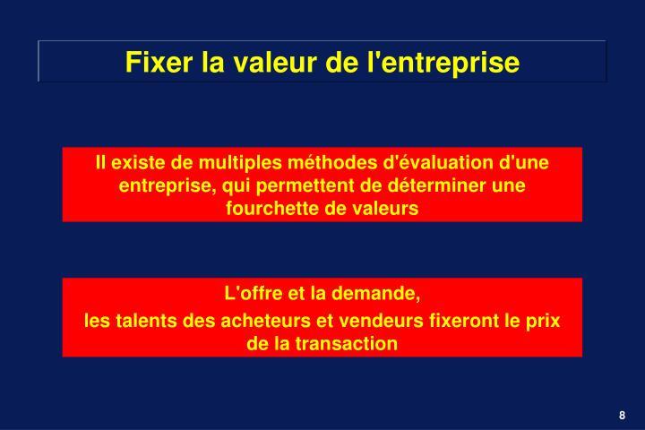 Fixer la valeur de l'entreprise