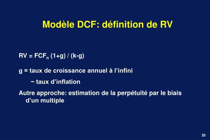 Modèle DCF: définition de RV