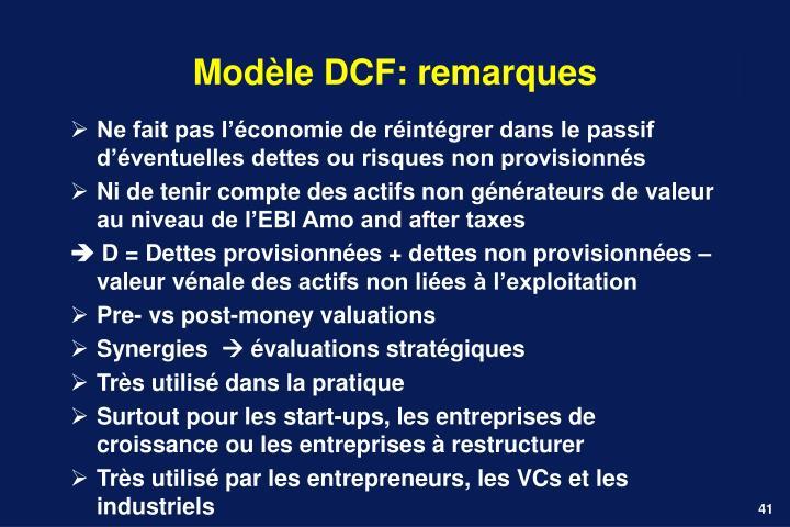 Modèle DCF: remarques