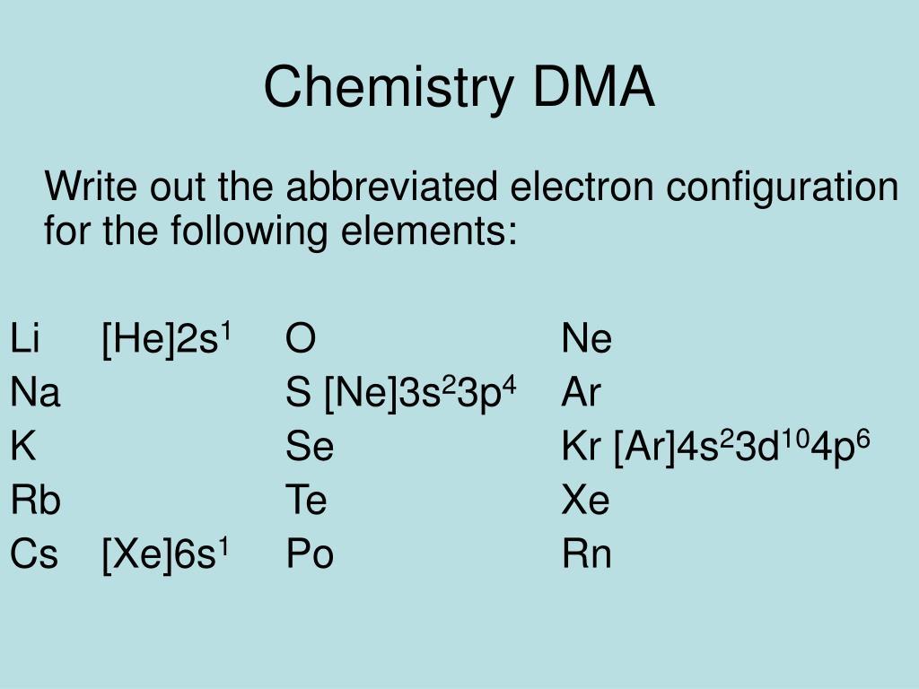 Chemistry DMA
