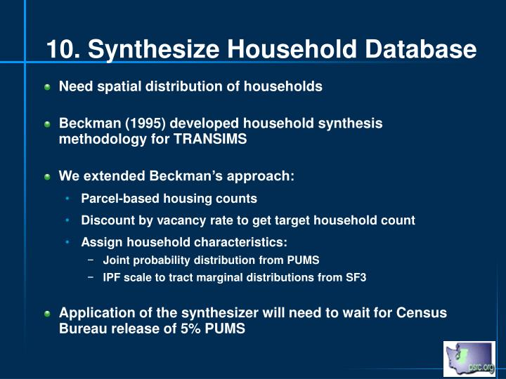 10. Synthesize Household Database