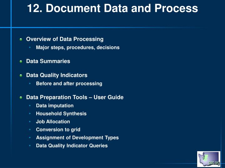 12. Document Data and Process