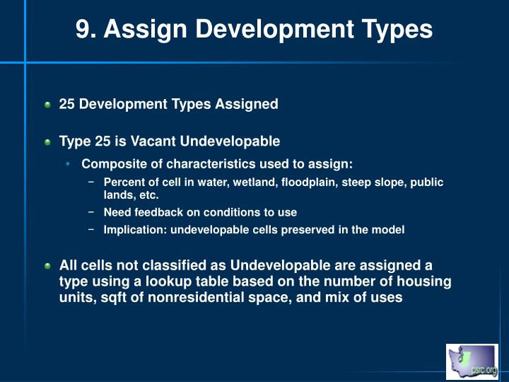 9. Assign Development Types