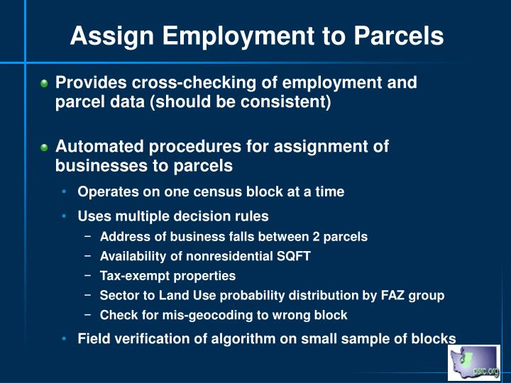 Assign Employment to Parcels