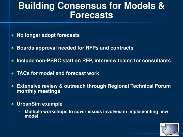 Building Consensus for Models & Forecasts