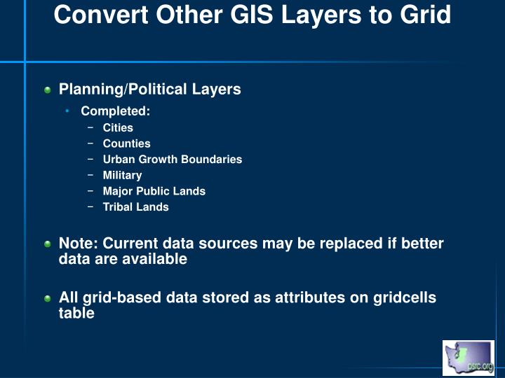 Convert Other GIS Layers to Grid