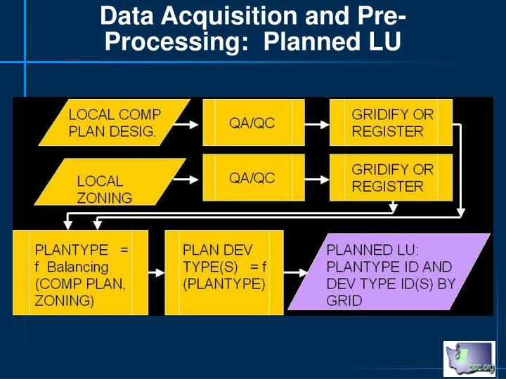 Data Acquisition and Pre-Processing:  Planned LU
