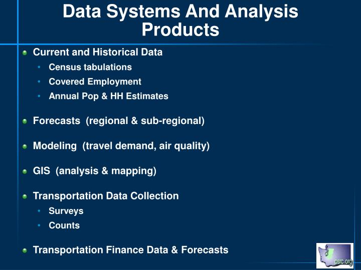 Data Systems And Analysis Products