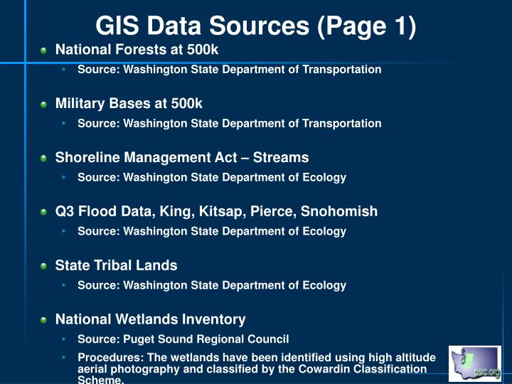 GIS Data Sources (Page 1)