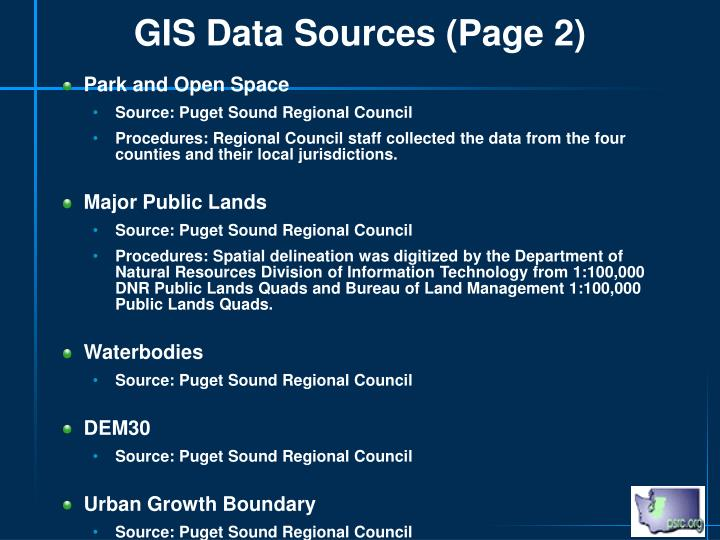 GIS Data Sources (Page 2)