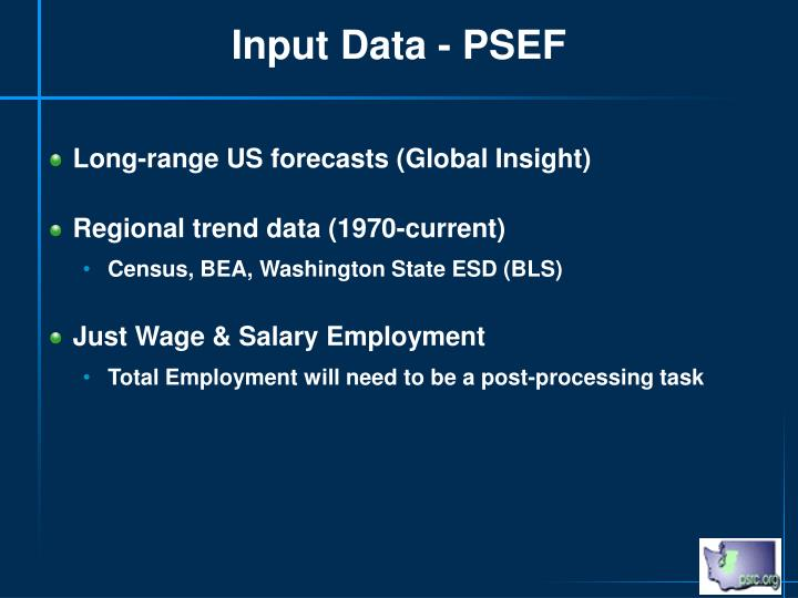 Input Data - PSEF