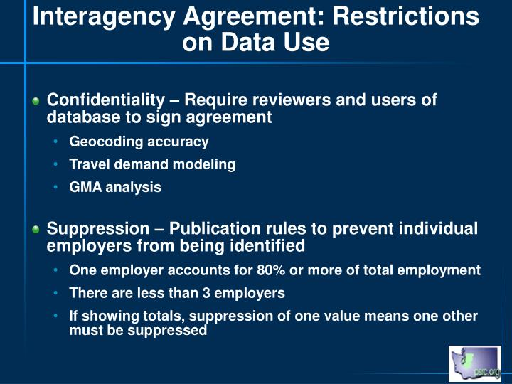 Interagency Agreement: Restrictions on Data Use