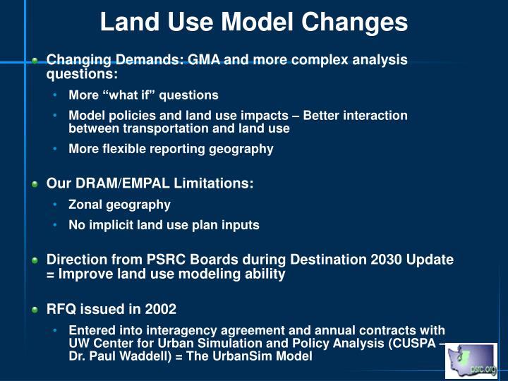 Land Use Model Changes