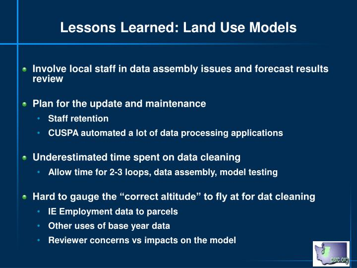 Lessons Learned: Land Use Models