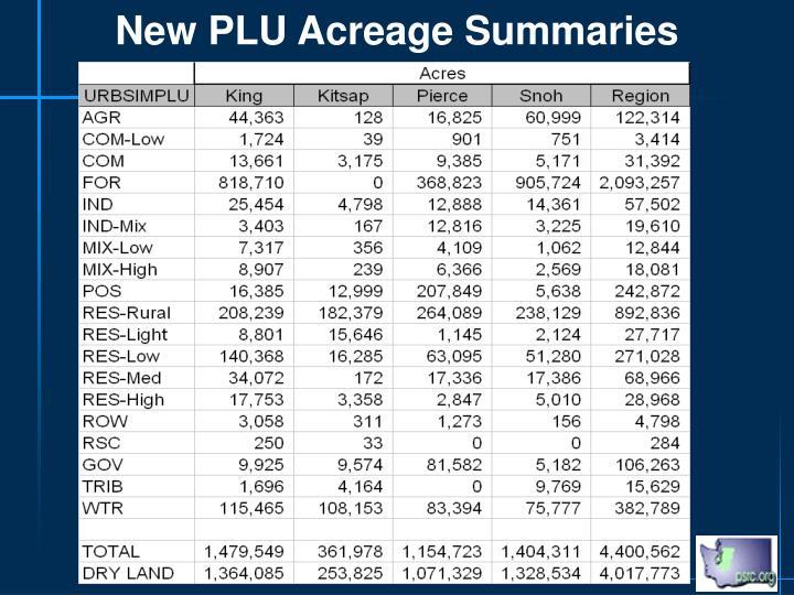 New PLU Acreage Summaries