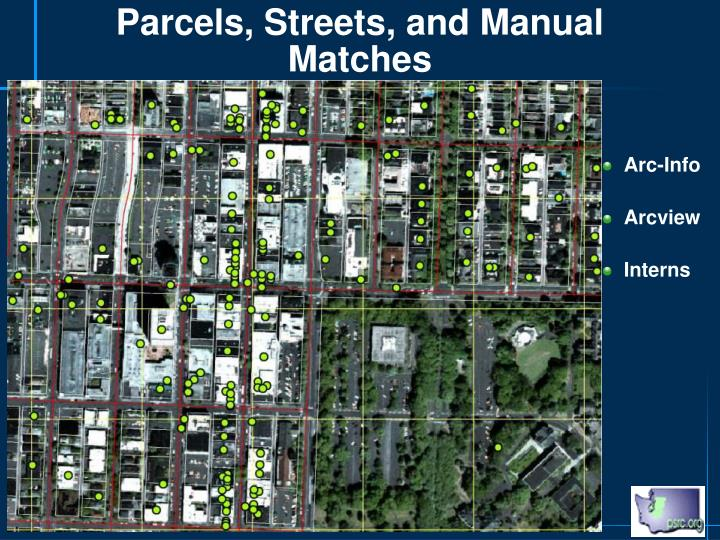 Parcels, Streets, and Manual Matches