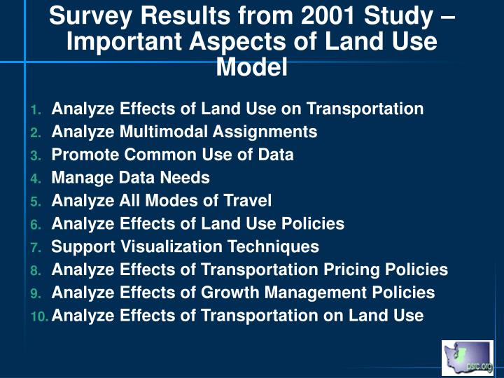 Survey Results from 2001 Study – Important Aspects of Land Use Model