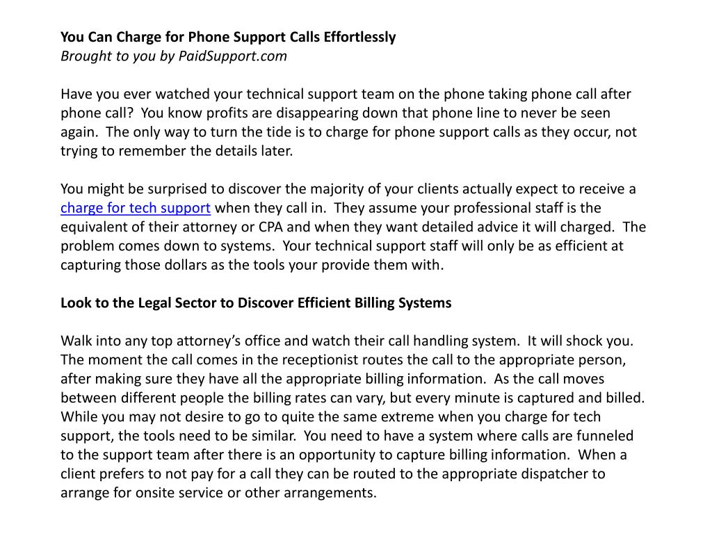 You Can Charge for Phone Support Calls Effortlessly